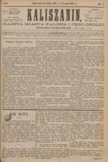 Kaliszanin : gazeta miasta Kalisza i jego okolic. R.7, № 1 (4 stycznia 1876)