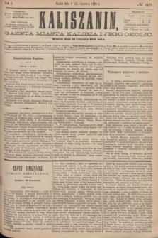 Kaliszanin : gazeta miasta Kalisza i jego okolic. R.7, № 45 (13 czerwca 1876)