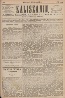 Kaliszanin : gazeta miasta Kalisza i jego okolic. R.7, № 48 (23 czerwca 1876) + dod.