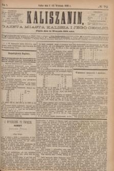 Kaliszanin : gazeta miasta Kalisza i jego okolic. R.7, № 72 (15 września 1876)
