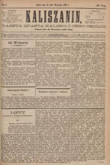 Kaliszanin : gazeta miasta Kalisza i jego okolic. R.7, № 74 (22 września 1876)
