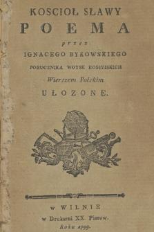 Koscioł Sławy : Poema