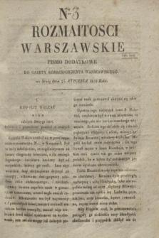 Rozmaitości Warszawskie : pismo dodatkowe do Gazety Korrespondenta Warszawskiego. 1830, Ner 3 (27 stycznia)