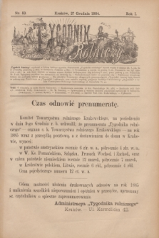 Tygodnik Rolniczy. R.1, nr 53 (27 grudnia 1884) + dod.