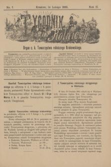 Tygodnik Rolniczy : Organ c. k. Towarzystwa rolniczego Krakowskiego. R.2, nr 7 (14 lutego 1885) + dod.