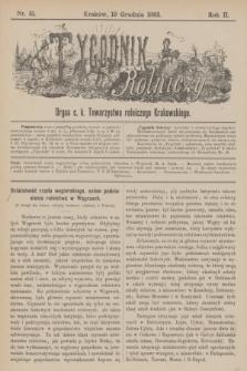 Tygodnik Rolniczy : Organ c. k. Towarzystwa rolniczego Krakowskiego. R.2, nr 51 (19 grudnia 1885)