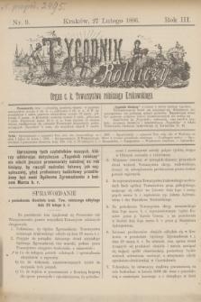 Tygodnik Rolniczy : Organ c. k. Towarzystwa rolniczego Krakowskiego. R.3, nr 9 (27 lutego 1886)