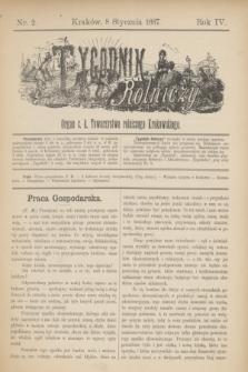 Tygodnik Rolniczy : Organ c. k. Towarzystwa rolniczego Krakowskiego. R.4, nr 2 (8 stycznia 1887)