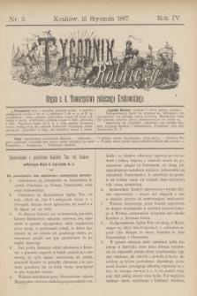 Tygodnik Rolniczy : Organ c. k. Towarzystwa rolniczego Krakowskiego. R.4, nr 3 (15 stycznia 1887)