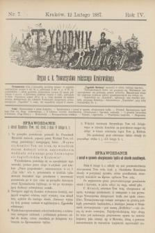 Tygodnik Rolniczy : Organ c. k. Towarzystwa rolniczego Krakowskiego. R.4, nr 7 (12 lutego 1887)