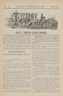 Tygodnik Rolniczy : Organ c. k. Towarzystwa rolniczego Krakowskiego. R.4, nr 41 (8 października 1887)