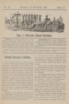 Tygodnik Rolniczy : Organ c. k. Towarzystwa rolniczego Krakowskiego. R.4, nr 51 (17 grudnia 1887)
