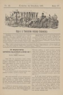 Tygodnik Rolniczy : Organ c. k. Towarzystwa rolniczego Krakowskiego. R.4, nr 52 (24 grudnia 1887)