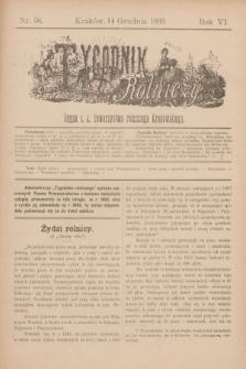 Tygodnik Rolniczy : Organ c. k. Towarzystwa rolniczego Krakowskiego. R.6, nr 50 (14 grudnia 1889)