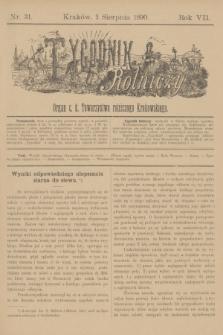Tygodnik Rolniczy : Organ c. k. Towarzystwa rolniczego Krakowskiego. R.7, nr 31 (2 sierpnia 1890)