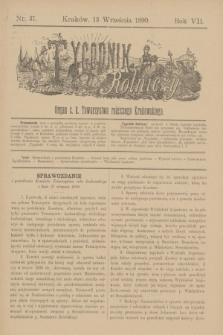 Tygodnik Rolniczy : Organ c. k. Towarzystwa rolniczego Krakowskiego. R.7, nr 37 (13 września 1890)