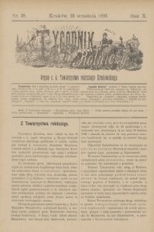 Tygodnik Rolniczy : Organ c. k. Towarzystwa rolniczego Krakowskiego. R.10, nr 38 (23 września 1893)