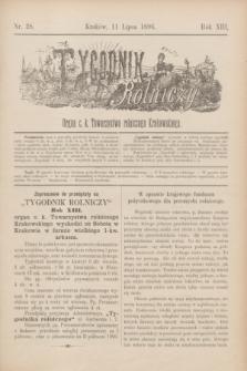 Tygodnik Rolniczy : Organ c. k. Towarzystwa rolniczego Krakowskiego. R.13, nr 28 (11 lipca 1896) + wkładka