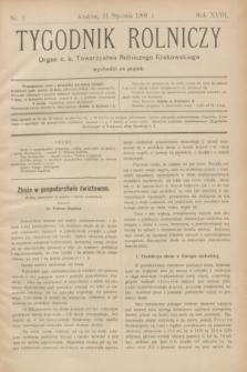 Tygodnik Rolniczy : Organ c. k. Towarzystwa Rolniczego Krakowskiego. R.18, nr 2 (11 stycznia 1901)