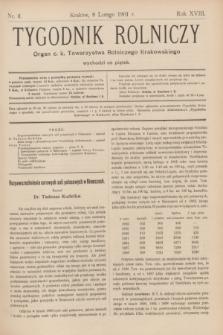 Tygodnik Rolniczy : Organ c. k. Towarzystwa Rolniczego Krakowskiego. R.18, nr 6 (8 lutego 1901)