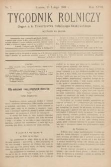 Tygodnik Rolniczy : Organ c. k. Towarzystwa Rolniczego Krakowskiego. R.18, nr 7 (15 lutego 1901)