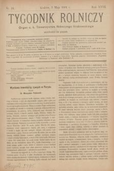 Tygodnik Rolniczy : Organ c. k. Towarzystwa Rolniczego Krakowskiego. R.18, nr 18 (3 maja 1901)