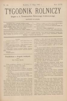 Tygodnik Rolniczy : Organ c. k. Towarzystwa Rolniczego Krakowskiego. R.18, nr 20 (17 maja 1901)