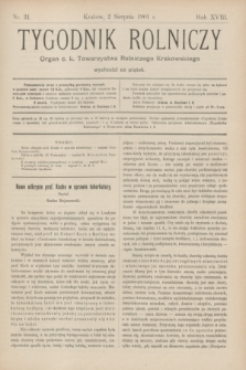Tygodnik Rolniczy : Organ c. k. Towarzystwa Rolniczego Krakowskiego. R.18, nr 31 (2 sierpnia 1901)