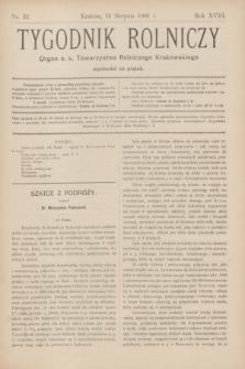 Tygodnik Rolniczy : Organ c. k. Towarzystwa Rolniczego Krakowskiego. R.18, nr 33 (16 sierpnia 1901)
