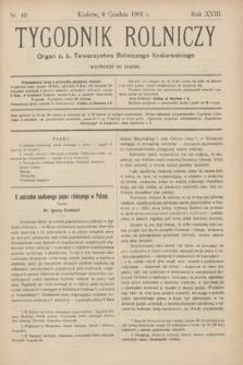 Tygodnik Rolniczy : Organ c. k. Towarzystwa Rolniczego Krakowskiego. R.18, nr 49 (6 grudnia 1901)
