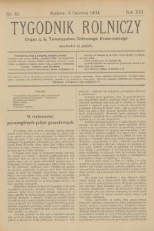 Tygodnik Rolniczy : Organ c. k. Towarzystwa Rolniczego Krakowskiego. R.21, nr 23 (3 czerwca 1904)