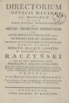 Directorium Officii Divini ac Missarum ad usum Almae Ecclesiae Metropolitanae et Archi-Dioecesis Gnesnensis pro Anno Bissextili MDCCCXII 1812