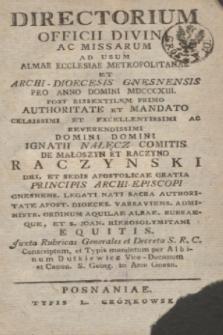 Directorium Officii Divini ac Missarum ad usum Almae Ecclesiae Metropolitanae et Archi-Dioecesis Gnesnensis pro Anno Domini MDCCCXIII 1813