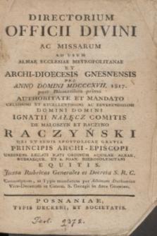 Directorium Officii Divini ac Missarum ad usum Almae Ecclesiae Metropolitanae et Archi-Dioecesis Gnesnensis pro Anno Domini MDCCCXVII 1817