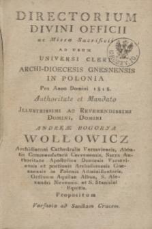Directorium Divini Officii ac Missæ Sacrificii ad usum Universi Cleri Archi-Dioecesis Gnesnensis in Polonia pro Anno Domini 1818