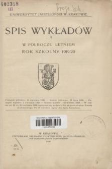 Spis Wykładów w Półroczu Letniem : rok szkolny 1919/20