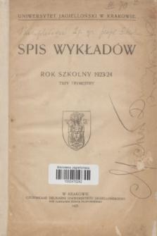 Spis Wykładów : rok szkolny 1923/24 : trzy trymestry