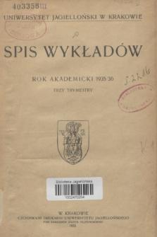 Spis Wykładów : rok akademicki 1935/36 : trzy trymestry