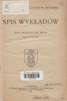 Spis Wykładów : rok akademicki 1937/38 : trzy trymestry