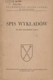 Spis Wykładów na rok akademicki 1953/54