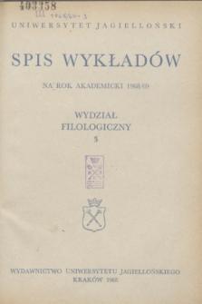 Spis Wykładów na rok akademicki 1968/69 : Wydział Filologiczny. 3