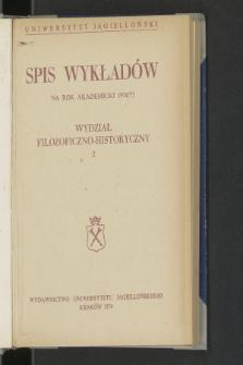 Spis Wykładów na rok akademicki 1974/75 : Wydział Filozoficzno-Historyczny. 2