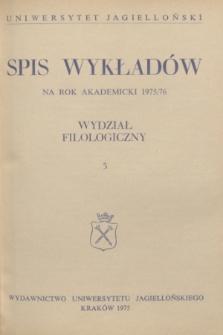Spis Wykładów na rok akademicki 1975/76 : Wydział Filologiczny. 3