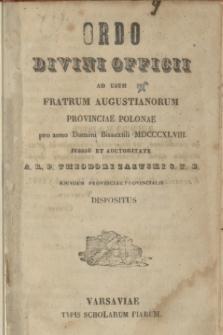 Ordo Divini Officii ad usum Fratrum Augustianorum Provinciae Polonae pro anno Domini Bissextili MDCCCXLVIII