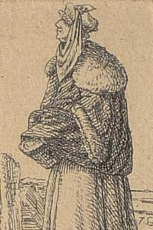 [Kobieta z koszem stojąca obok płotu]