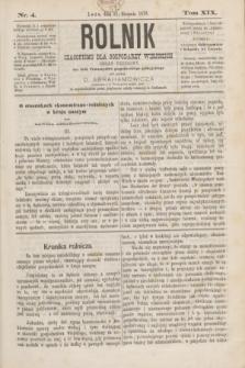 Rolnik : czasopismo dla gospodarzy wiejskich : organ urzędowy ces. król. Towarzystwa gospodarskiego galicyjskiego. T.19, Nr. 4 (31 sierpnia 1876)