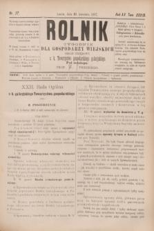 Rolnik : tygodnik dla gospodarzy wiejskich : organ urzędowy c. k. Towarzystwa gospodarskiego galicyjskiego. R.20, T.39, Nr. 17 (23 kwietnia 1887)