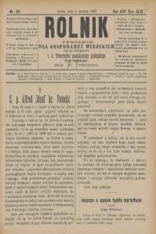 Rolnik : tygodnik dla gospodarzy wiejskich : organ urzędowy c. k. Towarzystwa gospodarskiego galicyjskiego. R.22, T.43, Nr. 22 (1 czerwca 1889)