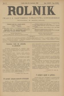 Rolnik : organ c. k. galicyjskiego Towarzystwa gospodarskiego. R.36, T.66 [I], Nr. 17 (25 kwietnia 1903) + dod.