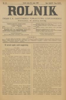 Rolnik : organ c. k. galicyjskiego Towarzystwa gospodarskiego. R.36, T.66 [!], Nr. 21 (23 maja 1903)
